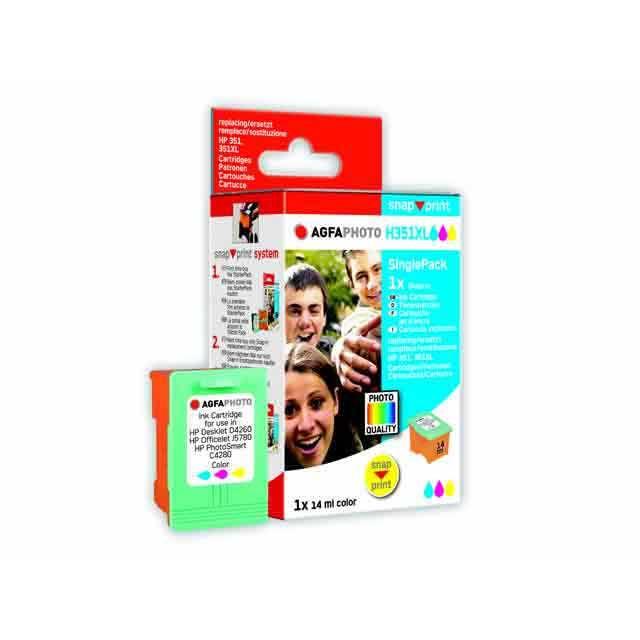 AGFA PHOTO Single Pack: 1 recharge de cartouches d'encre couleur pour HP DeskJet D4260, 1x14ml, AGFA SNAP SINGLE H351XLC