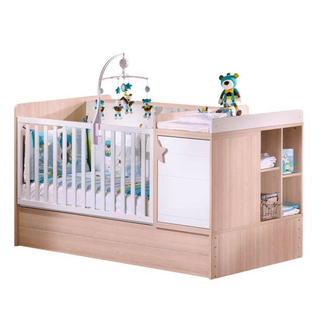sauthon lit chambre 70 x 140 cm transformable norway meubles marron pas cher achat vente lit bb rueducommerce - Lit Sauthon