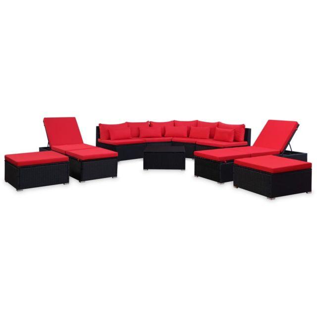 Résine 9 pcs avec coussins Mobilier de tressée jardin Rouge sQrhdt