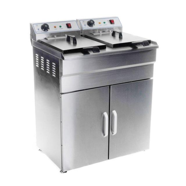 Autre Friteuse haute acier inox 2 bac 16 litres cuve amovible avec minuterie professionnelle 3614031