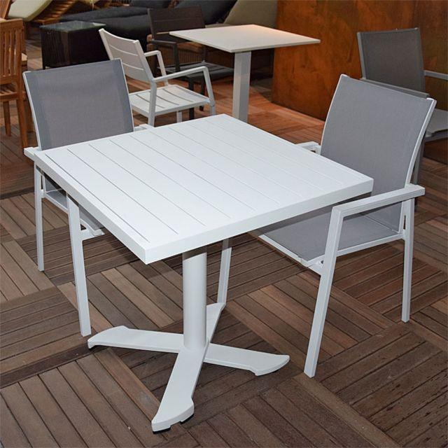 Gecko Jardin Table pliante carrée en aluminium blanc 76 cm Opéra
