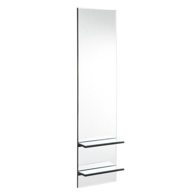 Tousmesmeubles Miroir rectangulaire double étagères Verre - Zarico