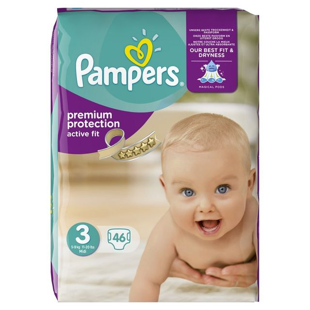 Pampers active fit couches taille 3 midi 5 9kg 46 for Pampers couche piscine