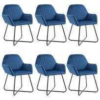 Chaises de salle à manger 6 pcs Bleu velours