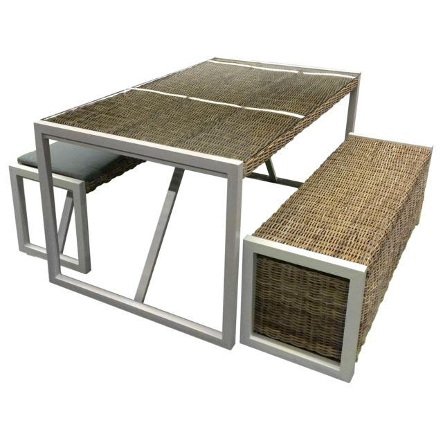City Green - Salon de jardin en kubu tressé avec banc et coffre ...