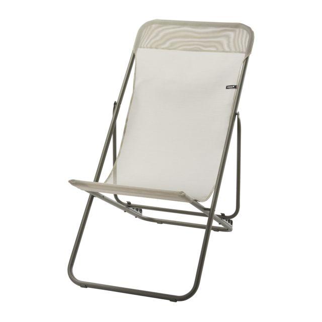 lafuma chaise longue transatube 2 texplast beige. Black Bedroom Furniture Sets. Home Design Ideas
