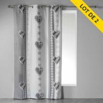 Couleur Montagne - Cdaffaires Lot de 2 rideaux a oeillets 140 x 240 cm coton imprime asmara Gris