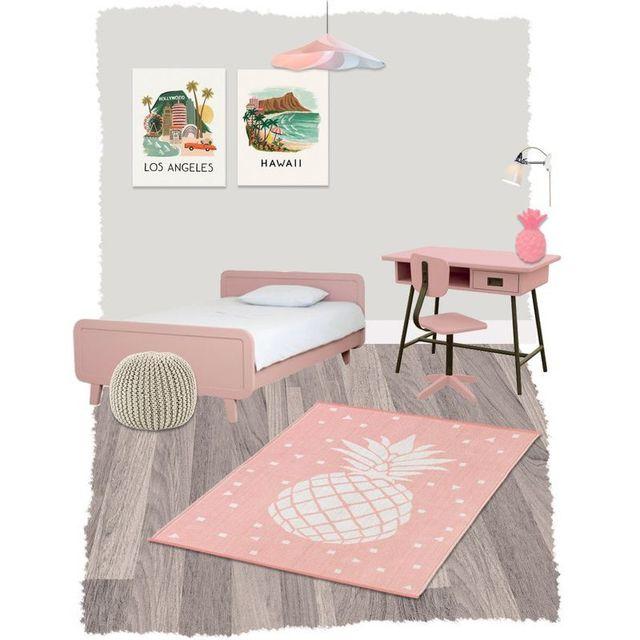 Nattiot - Tapis Frida Rose rectangle pour Chambre bébé fille par ...