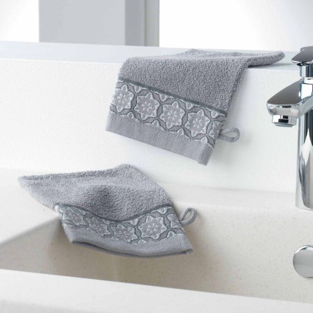 douceur d 39 interieur cdaffaires gants de toilette 2 15 x 21 cm eponge unie jacquard adelie. Black Bedroom Furniture Sets. Home Design Ideas