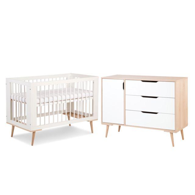 Klups Lit bébé 60x120 et Commode à langer LittleSky by Sofie - Blanc
