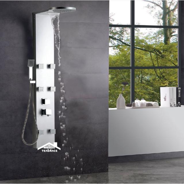 maison de la tendance colonne de douche hydromassante sue en abs chrom 134x25x7 cm pas cher. Black Bedroom Furniture Sets. Home Design Ideas