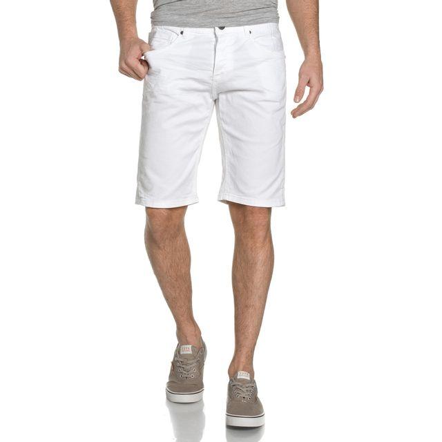 remise spéciale qualité-supérieure styles de variété de 2019 Bermuda En Jeans Blanc Boutonné