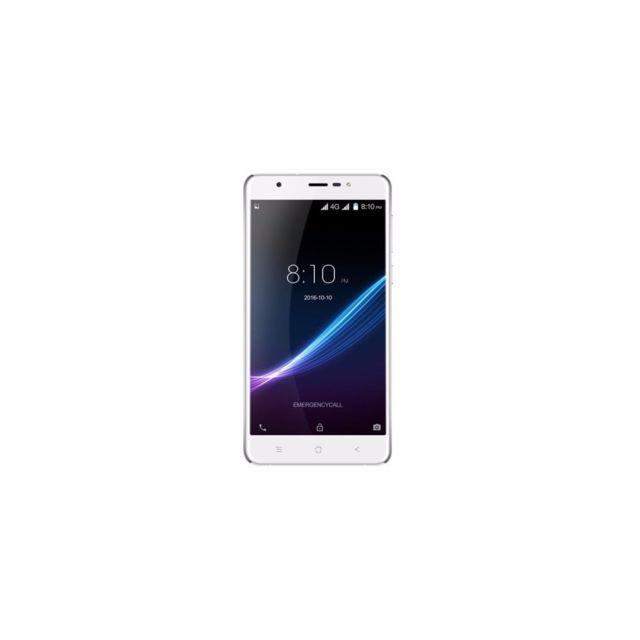 Auto-hightech Smartphone 4G Quad-core 5,5 pouces Android 6.0 3 + 32Go, reconnaissance d'empreintes digitales - Blanc