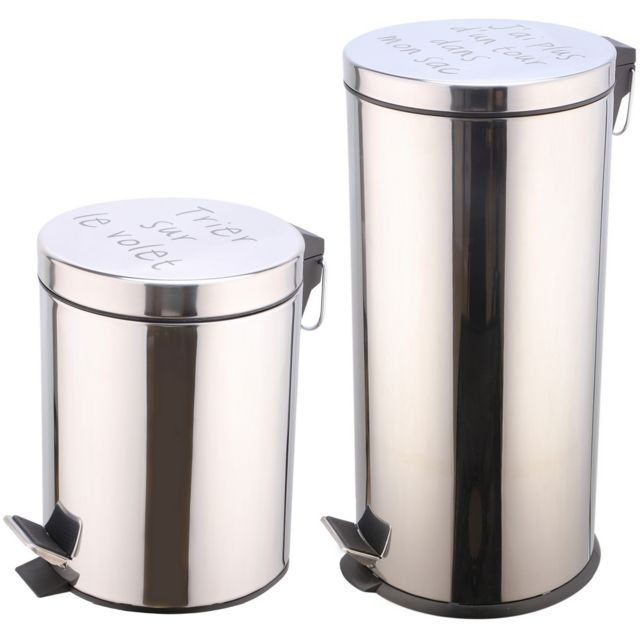 Promobo Set Duo Lot 2 Poubelles A Pédales Métal Design Inox Inscription Humour 27L et 5L