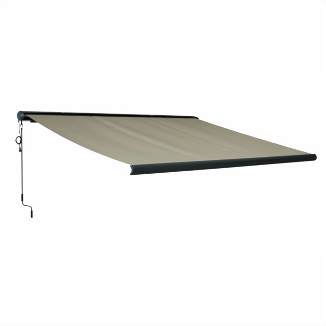 alice 39 s garden store banne ombrec 4x3m taupe coffre int gral aluminium syst me motoris. Black Bedroom Furniture Sets. Home Design Ideas
