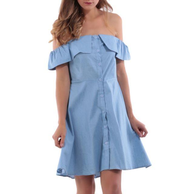 29a897685c1 La Modeuse - Robe en chambray bleu clair col bardot - pas cher Achat ...