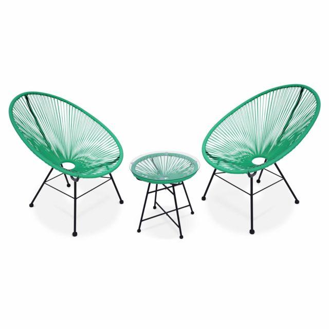 ALICE\'S GARDEN - 2 fauteuils design Oeuf avec table d ...