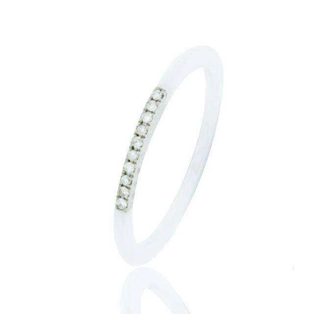 Ysora Bague En Or Gris Et Diamant Alliance En Ceramique Blanche
