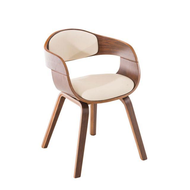 La Chaiserie Chaise de Salle à Manger simili cuir avec Accoudoirs Design Scandinave - Siège et Dossier Rembourrés -couleur: Noyer/Crè
