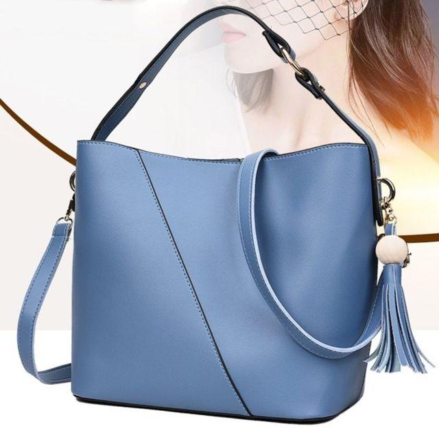 Sac porté épaule à bandoulière en Pu décontracté 2 1 à main Messenger pour femme bleu