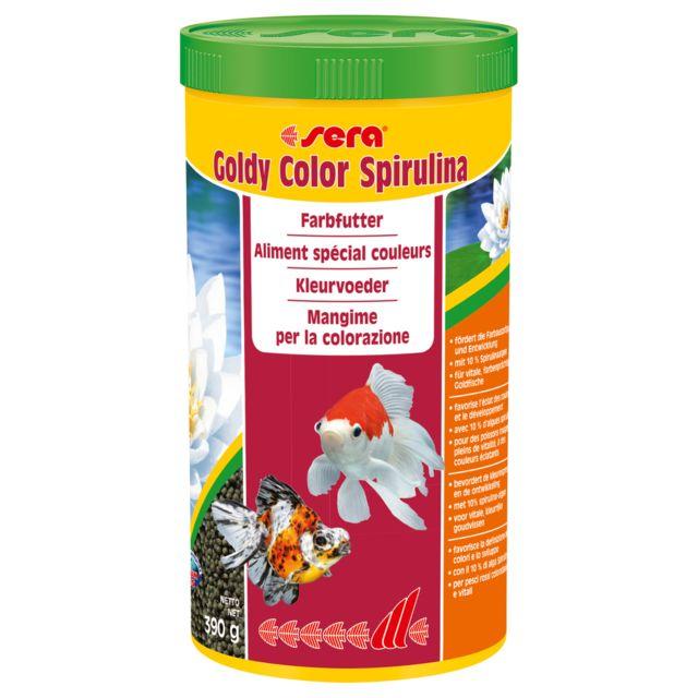 Aliments spécial Couleurs Goldy Color Spirulina pour Poissons Rouges - Sera - 1L