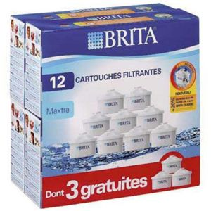 brita pack de 12 cartouches maxtra 9 3 gratuites pour carafe filtrante lo7324 pas cher. Black Bedroom Furniture Sets. Home Design Ideas