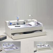 No Name - Lit étagère + tiroir Palma 90 x 190 / Blanc
