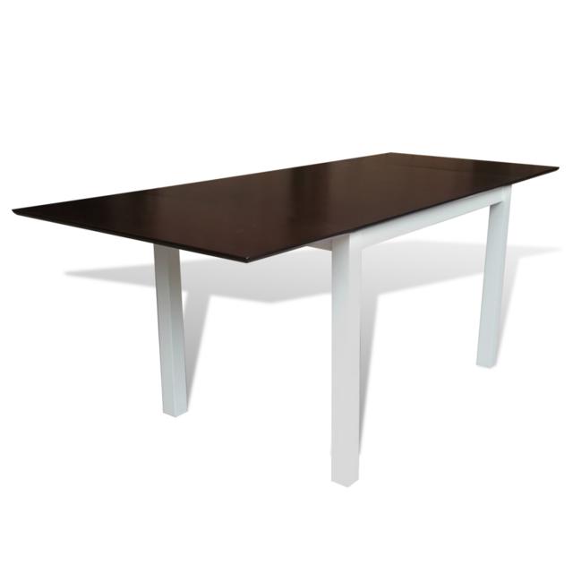 Vidaxl Table extensible marron et blanc 195 cm en bois massif