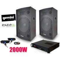 Ibiza - Pack sono Dj Enceintes 2x700W, Ampli Gemini 2000W