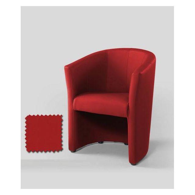 Sofamobili Fauteuil cabriolet rouge en Pu Calvin 10