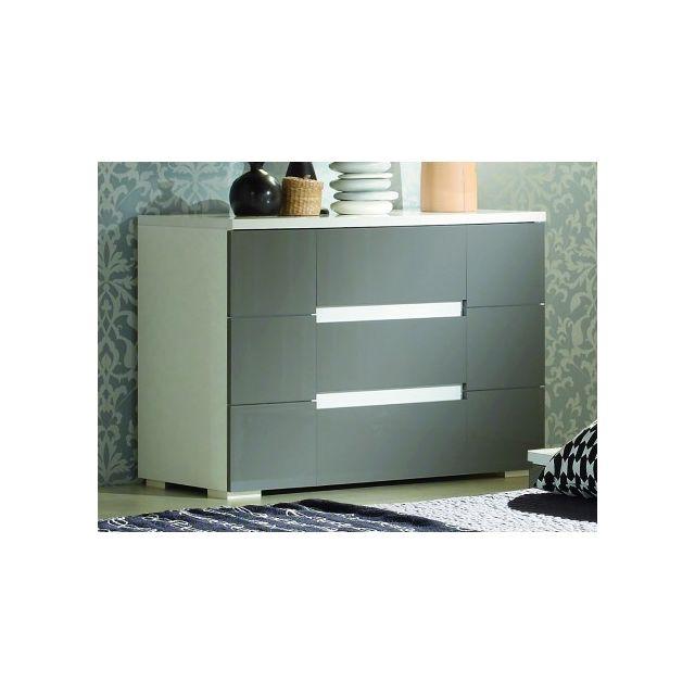 Marque Generique Commode Guilhem - 3 tiroirs - Laqué gris et blanc