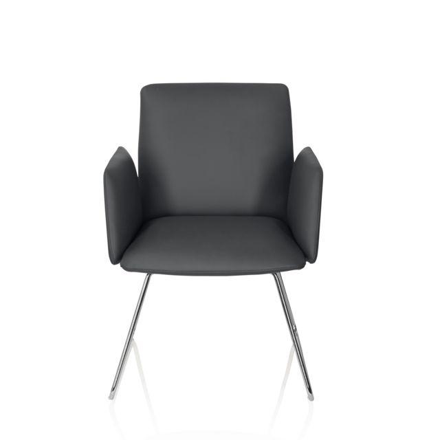 Hjh Office Chaise visiteur / chaise au piètement traîneau Designia V similicuir gris foncé