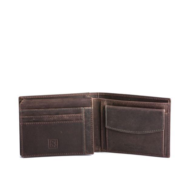 Dudu - Portefeuille pour homme avec porte-monnaie en cuir vieilli vintage  Dudu Brun foncé baf3c701535