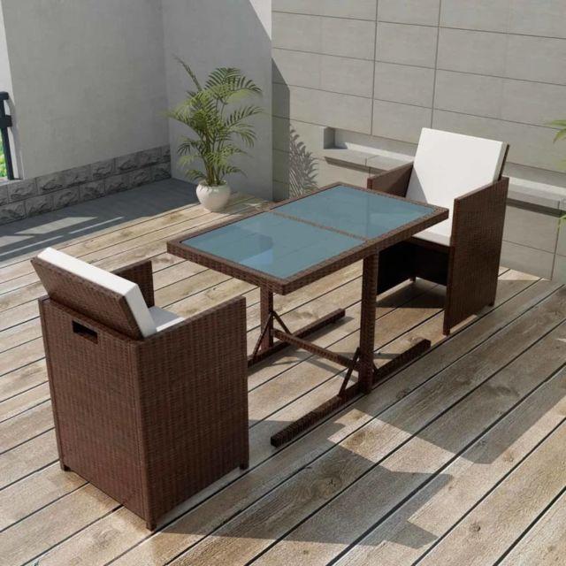 Vidaxl Salon de jardin encastrable 3 pcs et coussins Rotin Marron