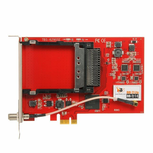 TBS TBS6528 Carte PCIe Tuner TV Multi-Standard DVB-S/S2/S2x DVB-T/T2 DVB-C & ISDB-T Satellite, TNT et le câble, avec 1 CI sl