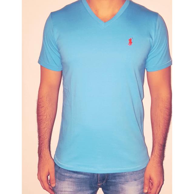 faa5e869a63d3 Ralph Lauren - T-shirt Bleu Azur Col V Taille L - pas cher Achat   Vente  Tee shirt homme - RueDuCommerce