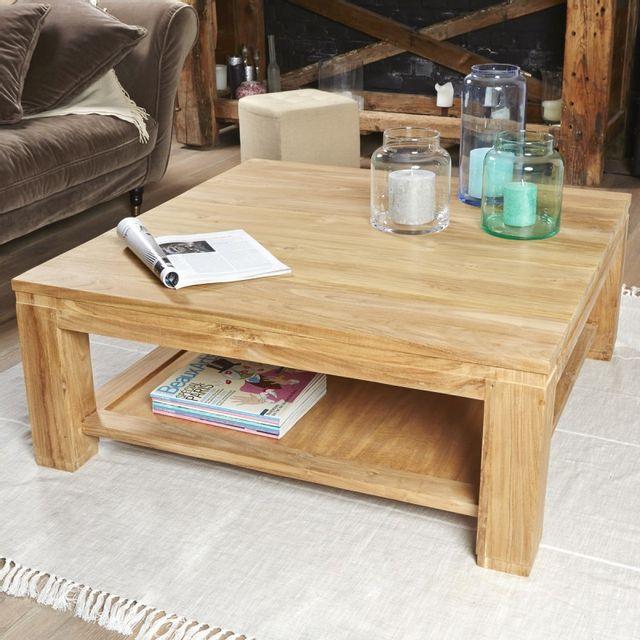 soldes bois dessus bois dessous table basse carr e en bois de teck 100 pas cher achat. Black Bedroom Furniture Sets. Home Design Ideas