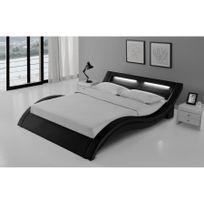 Rocambolesk - Magnifique Lit Milano 140x190 cm - Cadre de lit Led en simili cuir Noir