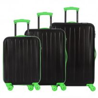 David Jones - Lot de 3 valises bagage rigide - 4 Roues - Vert