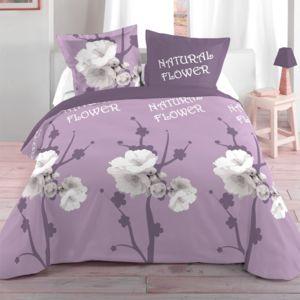 eminza housse de couette et deux taies 260 cm orchis pas cher achat vente housses de. Black Bedroom Furniture Sets. Home Design Ideas