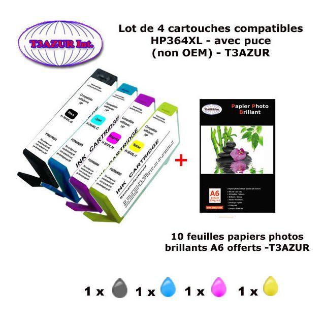 t3azur 4 cartouches compatibles hp364xl pour hp photosmart 5525 6510 6510 6520 6525 7510 7520. Black Bedroom Furniture Sets. Home Design Ideas