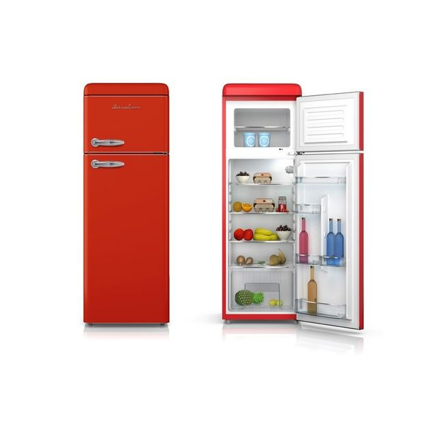 Schaub Lorenz - Sl208DDR Réfrigérateur deux portes Vintage 208 Litres - coloris rouge - A