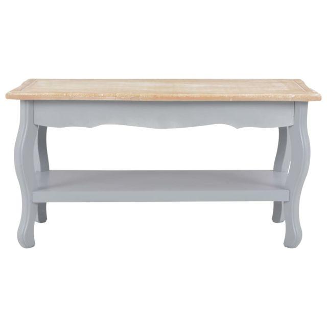 Icaverne - Tables basses edition Table basse Gris et marron 87,5x42x44 cm Bois de pin massif