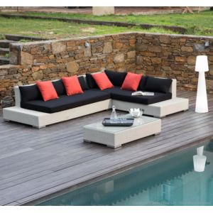 Ermanno g salon de jardin 6 places canap d 39 angle - Salon de jardin d angle resine tressee ...