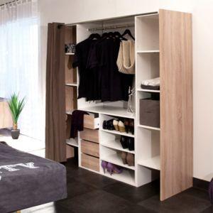 dressing 2 colonnes meuble 4 tiroirs rideau taupe pas cher achat vente commode. Black Bedroom Furniture Sets. Home Design Ideas