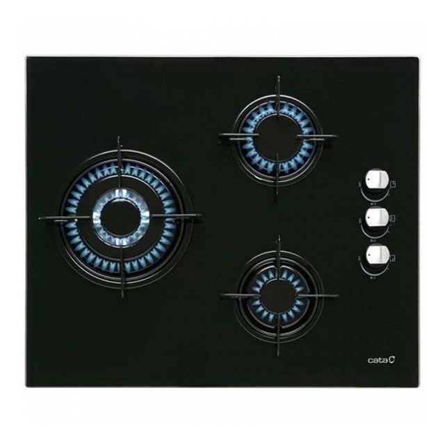 Totalcadeau Plaque au gaz à 3 foyers 5750W 60 cm Noir - Plaque de cuisson cuisine