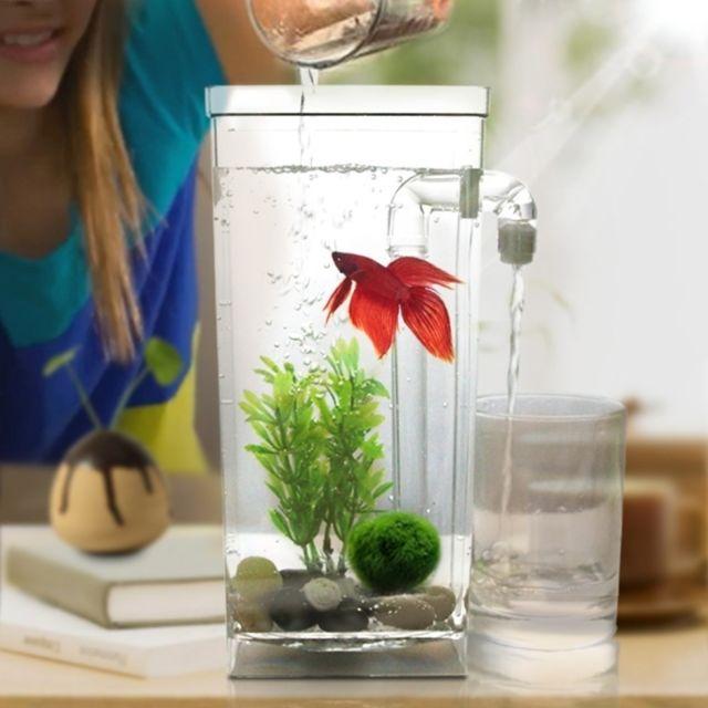 Wewoo Décoration aquarium Bol de poissons d'or d'aquarium de bureau créatif en plastique carré mini, réservoir d'eau paresseux