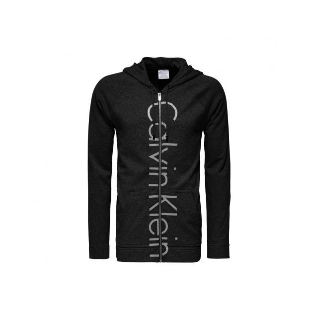 2727cf8aa4f Calvin Klein - Sweat zippé à capuche noir floqué - pas cher Achat ...