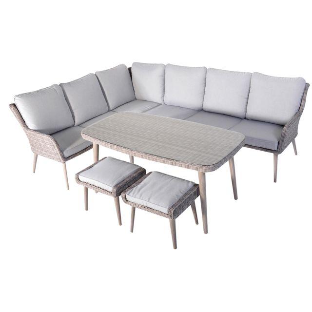 Pegane - Salon de jardin de 5 pièces coloris gris / beige ...