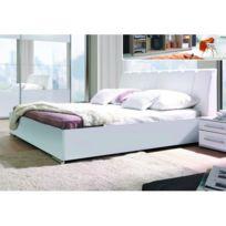 Price Factory   Ensemble Blanc Brillant Lit Design En Simili Cuir Et 2  Chevets Verona.